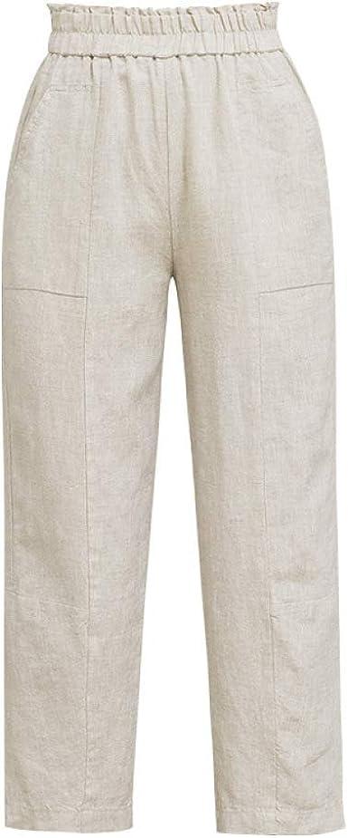 Pantalones De Lino Para Mujer Pantalones Sueltos Verano Seccion Delgada Personalidad Casual Moda Pantalones De Nueve Puntos Pantalones Haren Amazon Es Ropa Y Accesorios