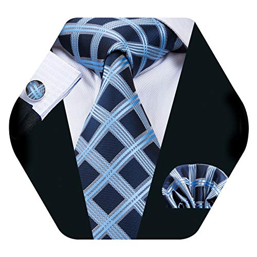 Navy Silk Plaid Tie Men Woven Necktie Handkerchief Cufflinks Set Business Formal Tie Set