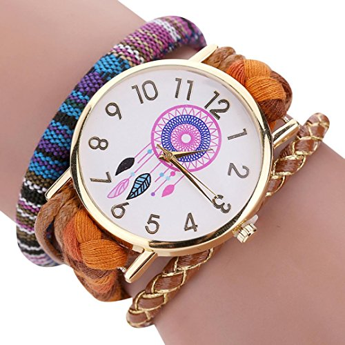 Price comparison product image Hot Sale! AMA(TM) Women Folk Style Knit Braided Wristwatch Fashion Bracelet Watches Decorative Gifts (Orange)
