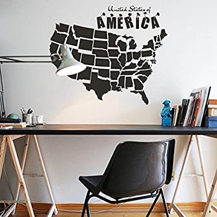 Amazon.com: Wall Decal Decor USA Map Sticker Wall Decal Map ...