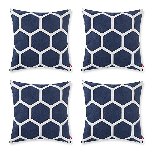 Baibu Designer Decor Throw Pillow Case Geometric Embroidery Teal Accent  Pattern Cushion Covers For Sofa Pillows Darkblue Set Of 4