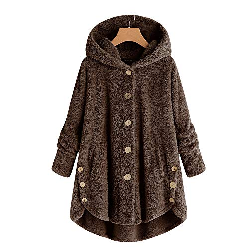 HYIRI Bottoming Fluffy Tail Tops,Fashion Women Button Coat Hooded Pullover Loose Sweater