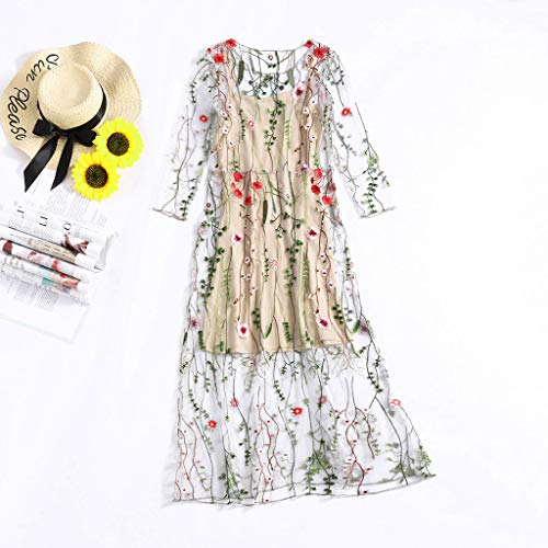 - YY1950s Ladies Fashion Floral Embroidered Bohemian Flower Plant Five-Sleeve Gown Dress Mesh Special O-Neck/Mesh Stitch Design Two-Piece Dress (Beige, L2)