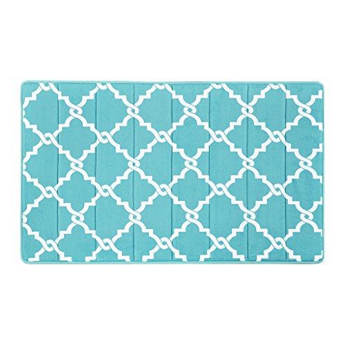 Madison Park Merritt Reversible Memory Foam Bath Mat, Classic Geometric Pattern Bathroom Rugs, 24x40, Aqua (Merritt Bathroom Light)