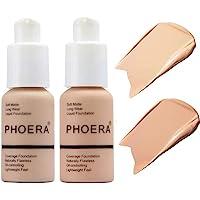 2 Pcs Soft Matte Full Coverage Liquid Foundation Brighten Highlighting Matte Oil Control Concealer Facial Blemish…