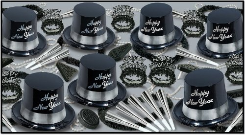 New Years Silver Legacy Party Assortment For 50 [3 Pieces] *** Product Description: Look Your Best This New Year Eve While Sporting The Silver Legacy New Year Party Assortment For 50. It Includes: 25 Plastic Toppers With Foil Band, 25 Glittered F *** by DDMA