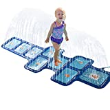 Samber Sprinkle and Splash Play Mat Toy for Child and Kids, Inflatable Water Spray Pad Outdoor Fun Toy for Hot Summer Garden Play