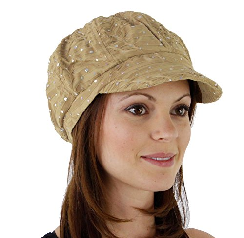 (Glitter Sequin Trim Newsboy Style Relaxed Fit Cap, Beige)