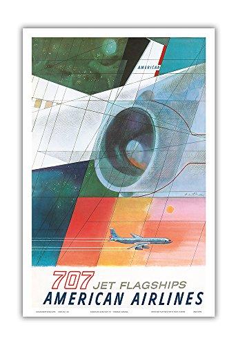 Pacifica Island Art Boeing 707 Jet Flagships - American Airlines - Vintage Airline Travel Poster by Herbert Danska c.1957 - Master Art Print - 12in x 18in