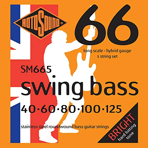 Rotosound SM665 Swing Bass 66 Stainless Steel 5 String Bass Guitar Strings -