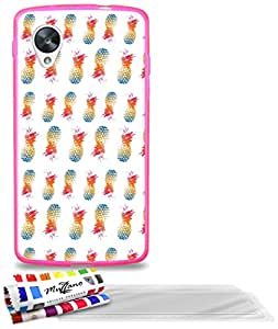 """Carcasa Flexible Ultra-Slim GOOGLE NEXUS 5 de exclusivo motivo [Pina Pop] [Rosa caramelo] de MUZZANO  + 3 Pelliculas de Pantalla """"UltraClear"""" + ESTILETE y PAÑO MUZZANO REGALADOS - La Protección Antigolpes ULTIMA, ELEGANTE Y DURADERA para su GOOGLE NEXUS 5"""