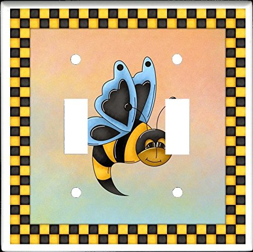 Bee Switchplate (BUTTER BEES Design #3 Double Toggle Switch Electrical Wall Plate)