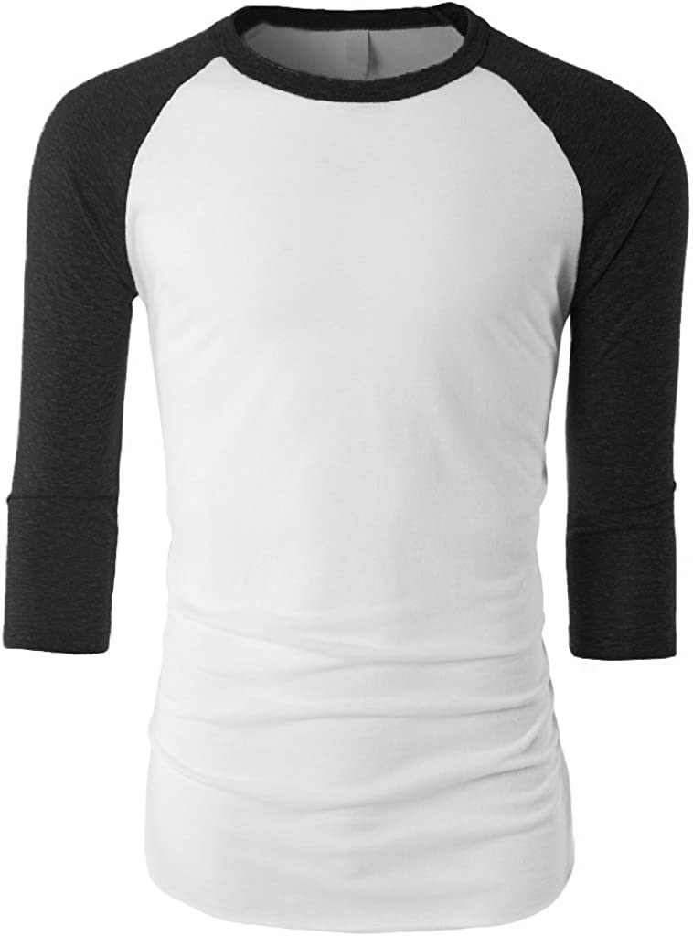 Mens TRI Blend Baseball 3//4 Raglan T Shirt Soft Fit Plain Every Day Wear 1KSA0010