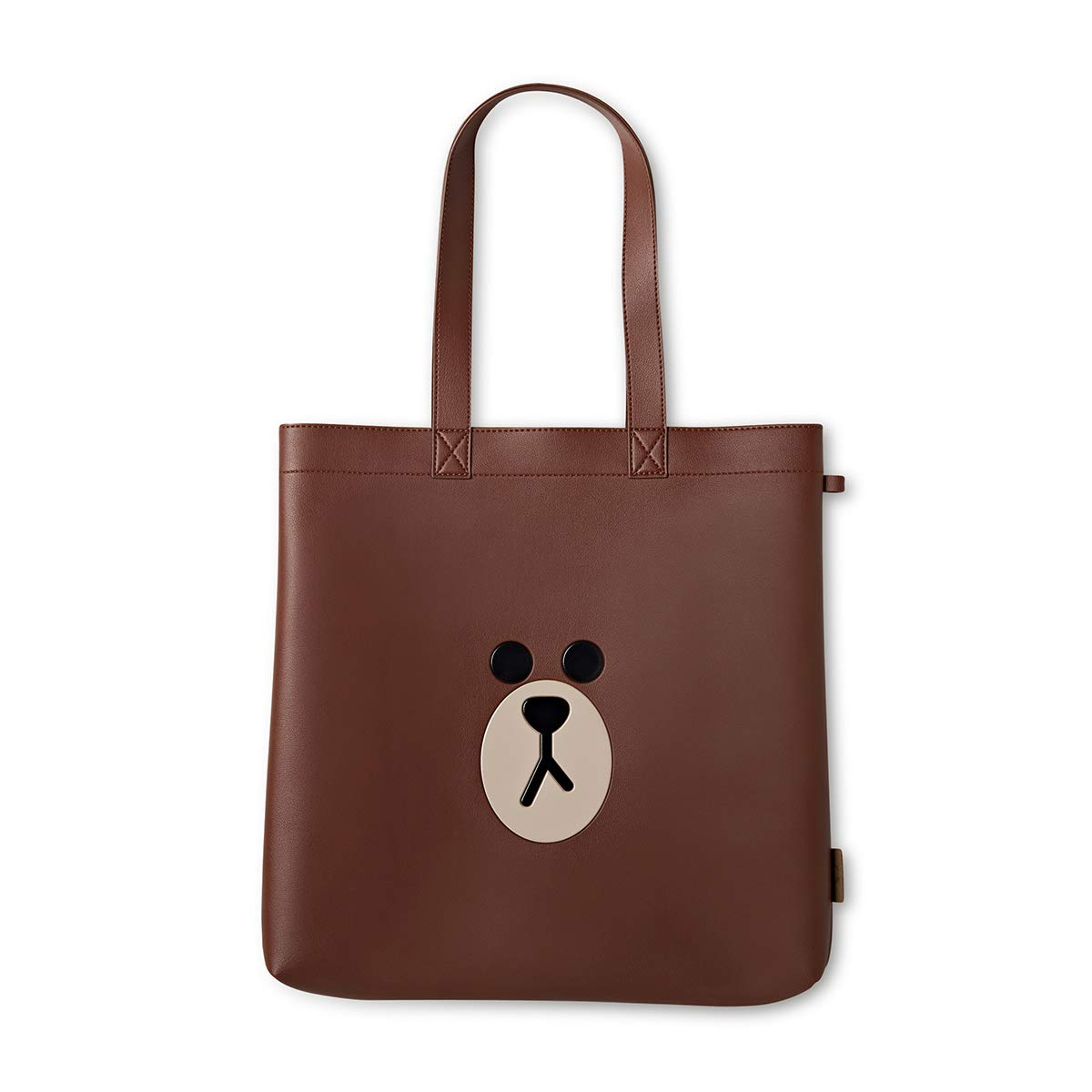 LINE FRIENDS Tote Bag - BROWN Character Faux Leather Shoulder Purse, Brown