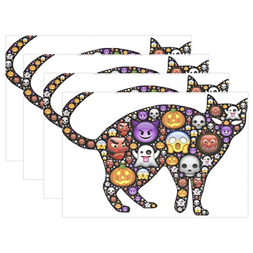 imobaby Halloween Emoji Cat Washable Placemats Table Mats,