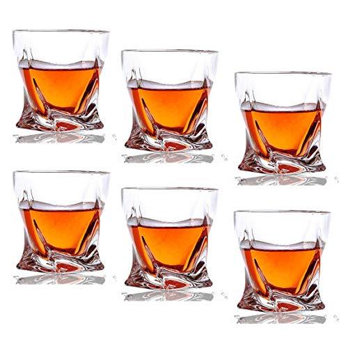 al Whiskey Glasses - 10 oz Twist Scotch Glasses for Drinking Bourbon, Cognac, Irish Whisky, Glassware Gift Set ()