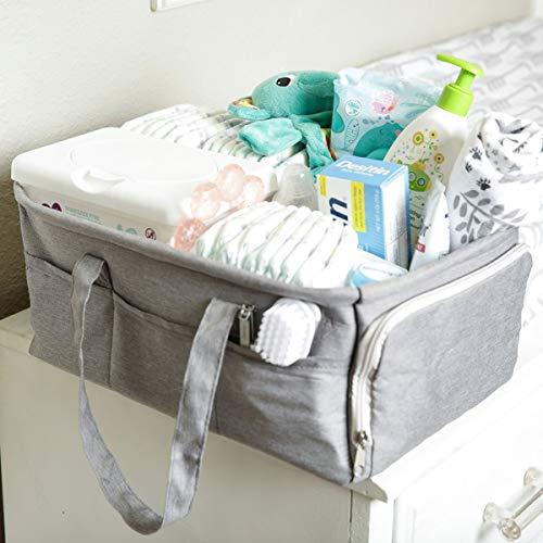 Baby Diaper Caddy Organizer by Kids N Such - Zipper Pocket - Large 15x12x7 Portable Diaper Holder Basket for Nursery or Car - 3 Insert Compartments - Grey Canvas Tote - Boy or Girl - Baby Shower Gift