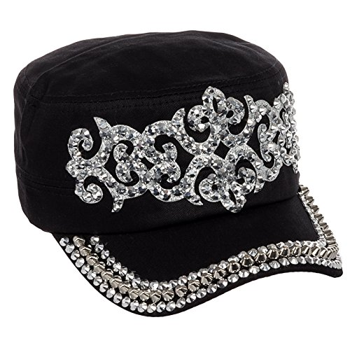 Crystal Case Women's Cotton Rhinestone Studded Medieval Military Cap Hat (Black)
