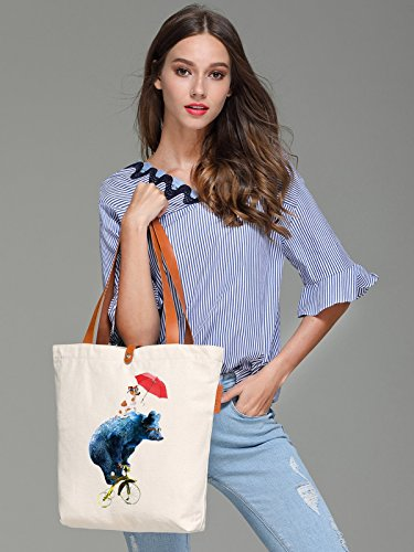 So'each Women's Bicycle Bear Dog Graphic Top Handle Canvas Tote Shoulder Bag