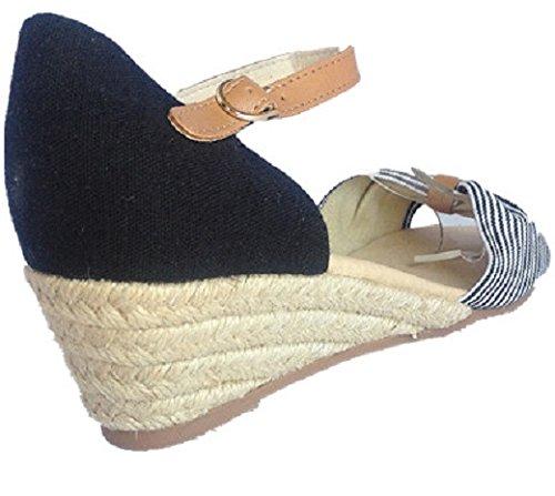 talon 2 H6825 chaussure Femmes Sandales escarpins ouvert bout compensées NOIR Saxw5q8