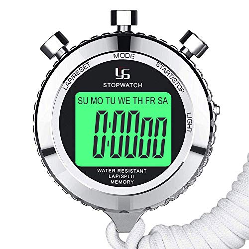 LAOPAO Stopwatch Metal Stopwatch Timer with Backlit 1/100th Second Precision 2 Lap Memory Digital Stop Watch for Coaches