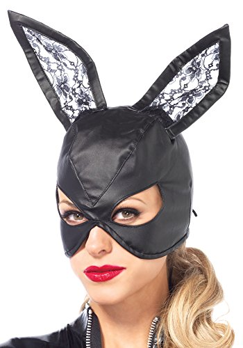 Faux Leather Bunny Mask Costume Halloween Lace Ears Up Back One Size (Leather Bunny Costume)
