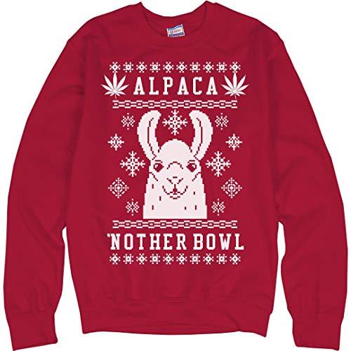 ca'nother Bowl Xmas Weed Llama: Unisex Ultimate Crewneck Sweatshirt ()