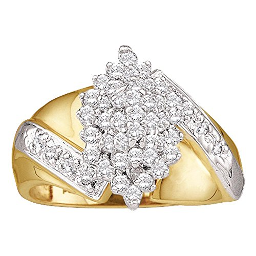 Flower Cluster Diamond Ring 14k Yellow Gold Fashion Band Wide Round Marquise Shape Floral Style 1/2 ctw (Marquise Band 14k Gold Yellow)