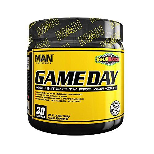 MAN Sports Game Day High Intensity Pre-Workout Supplement, Sour Batch, 255 Gram