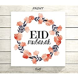 "Eid Mubarak - Flat 5x5"" Greeting Card or Art Print - Navy Coral Floral Wreath Design"