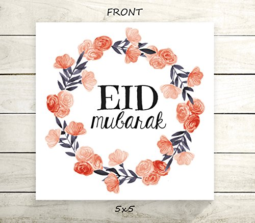 "Eid Mubarak - Flat 5x5"" Greeting Card or Art Print - Navy Coral Floral Wreath Design from Mommylicious Crafts"