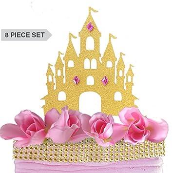 castle princess cake topper decoration set kit gold pink roses rhinestone gem ribbon glitter diamond