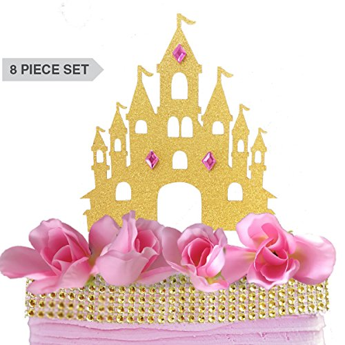 Castle Princess Cake Topper Decoration Set Kit - Gold Pink Roses Rhinestone Gem Ribbon Glitter Diamond Magical Fantasy Decor - Girl's Birthday, Quinceanera, 15th, 16th, Sweet 16 Sixteen, 1st, One (Sofia The First Cupcake Stand)