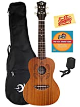 Luna Honu Mahogany Concert Ukulele Bundle with Gig Bag, Austin Bazaar Instructional DVD, Clip-On Tuner, and Polishing Cloth