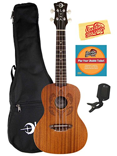 Luna Honu Mahogany Concert Ukulele Bundle with Gig Bag, Austin Bazaar Instructional DVD, Clip-On Tuner, and Polishing Cloth by Luna Guitars