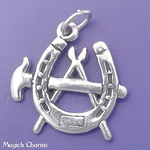 - 925 Sterling Silver Blacksmith Symbol Charm Farrier Horseshoe Pendant Jewelry Making Supply, Pendant, Charms, Bracelet, DIY Crafting by Wholesale Charms