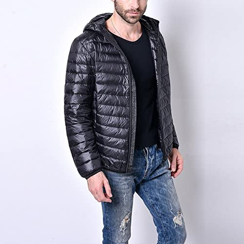 iShine Mens Hooded Packable Down Puffer Coat Retro Lightweight Down Weatherproof Fall and Winter Stylish Outerwear Jacket