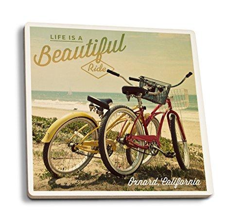 (Lantern Press Oxnard, California - Life is a Beautiful Ride - Beach Cruisers (Set of 4 Ceramic Coasters - Cork-Backed,)