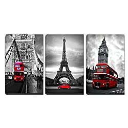 3 Panels Black and White Pairs Eiffel Tower with Red Car London's Big Ben Clock and London Bridge with Red Bus Canvas Wall Art, Ready to Hang for Living Room Bedroom Office (16X24inchX3)