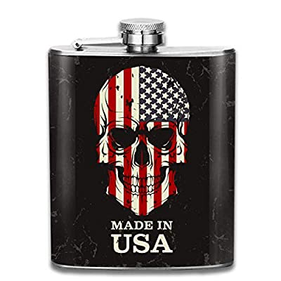 Made in USA Skull Fashion Portable Stainless Steel Hip Flask Whiskey Bottle for Men and Women 7 Oz