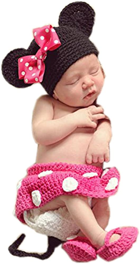 New born Crochet Knitted Cute Baby Micky Mouse Hat Gift Girl Boy Diaper Shoes