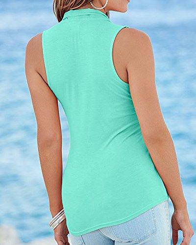 Col Blouses Casual Femmes Vest Gilet Manches Top Blouse Sans Shirt Vert Chemise T Chemisier Lac V 1v55qwxAnR