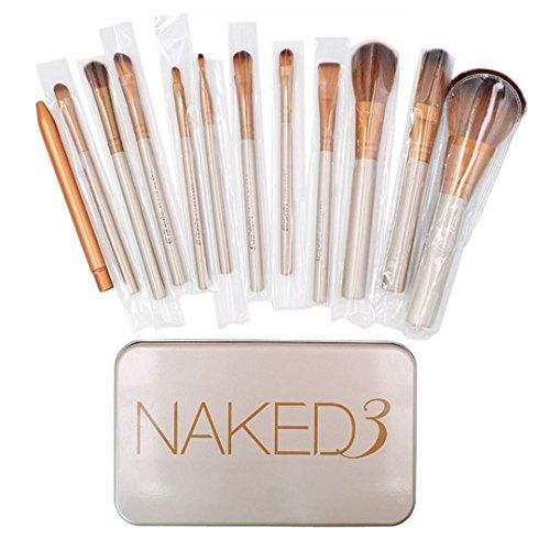 12Pcs Mily synthétique Makeup Brush Set cosmétique brosses or manche en bois avec une boîte