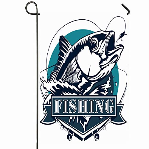 Ahawoso Outdoor Garden Flag 28x40 Inches Lure Fisherman Red Snapper Rods Ocean Waves Fishing Marine Fish Parks Bass Redfish Tuna Water White Seasonal Home Decorative House Yard Sign (Stand Tuna Rod)