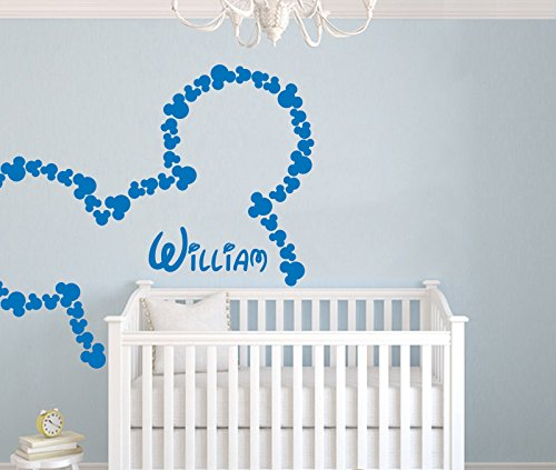 Wall decals custom personalized name disney head mice ears mickey wall decals custom personalized name disney head mice ears mickey mouse children gift bedroom nursery boy negle Choice Image