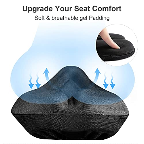 Suleto Bike Seat Cover, [Super Soft & Durable] Gel Bicycle Seat Cushion for Women Men Comfort Anti-Slip Bike Saddle Cushion Pad Fits Exercise/Spin/Cruiser/Mountain Bike Cycling with Waterproof Cover