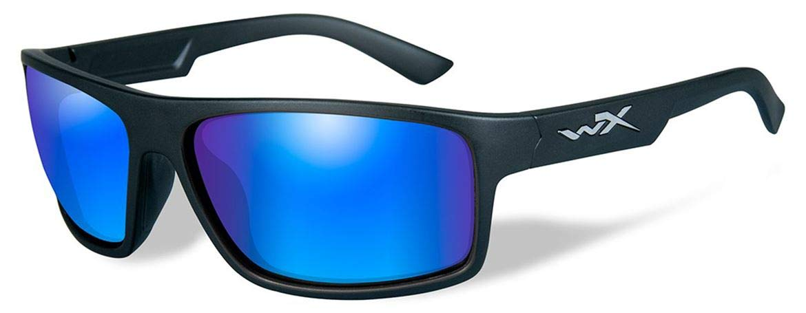 WileyX PEAK Sunglasses, Polarized Silver Flash Lenses, Offered in Matte Black, Gloss Black color from Eyeweb by Wiley X