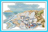 "Joy Sunday Cross Stitch kits, A quiet beach,14CT Counted, 41cm×28cm or 15.99""×10.92"""
