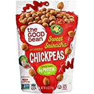 The Good Bean Chickpeas Snacks, Crunchy Sweet Sriracha, Gluten Free and Non-GMO, 6 Ounce