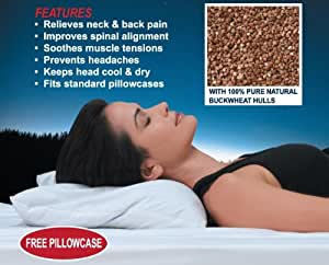 """100% Pure Natural Buckwheat Pillow - Japanese Size (14"""" x 20"""") With Pillow Case Included"""